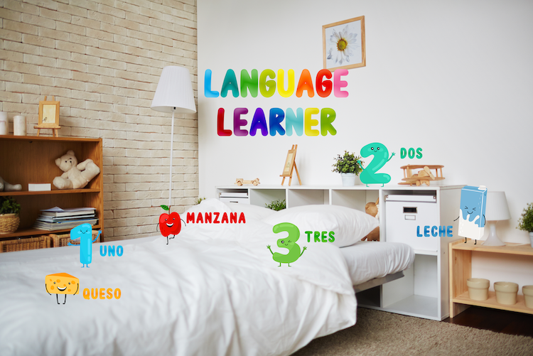 Image of bedroom with augmented reality elements such as numbers and foods with their respective Spanish translations